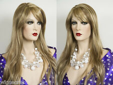 Long Natural Looking off Center Skin Part Wavy Straight Wigs Side Swept Bangs