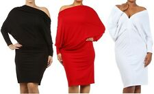 PLUS SIZE MULTI WAY REVERSIBLE PLUNGING CONVERTIBLE OFF SHOULDER MIDI DRESS