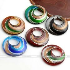 1x Murano Lampwork Glass Round Swirl Snail Hoop Pendant Bead Fit Necklace Chain