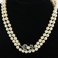Vintage Faux Pearl Necklace Set Diamante Silver Clasp Bridal Wedding Jewellery