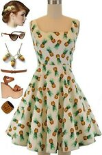 50s Style Scoop Neck PINUP PINEAPPLE Fruit Print Fit-N-Flare Sun Dress