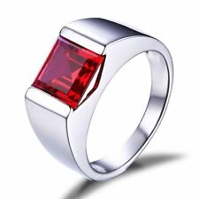 3.7ct Square Cut Ruby Men Ring 925 Sterling Silver Size 7 8 9 10 11