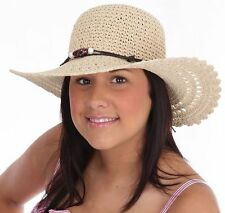 Ladies Crushable Woven Wide Brim straw Hat with Bead Band