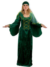 LADIES MEDIEVAL TUDOR COSTUME EMERALD GREEN CELTIC LADY FANCY DRESS OUTFIT NEW