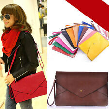 PU Leather Envelope Clutch Shoulder Messenger Tote Purse Cross Body Handbag Bag