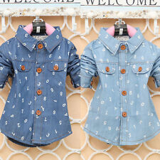 Baby Toddler Boy Girl Long Sleeve Blouse Lapel Button Down Denim Shirt Tops