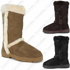 NEW LADIES WOMENS FUR FLAT WARM THICK LINED WINTER BOOTS SOLE TALL RUBBER SHOES