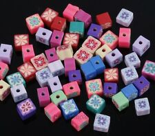 Mixed Color 50x Polymer Clay Fimo Cube Shape Loose Spacer Beads 6mm