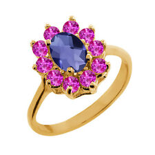 1.15 Ct Oval Checkerboard Blue Iolite Pink Sapphire 18K Yellow Gold Ring