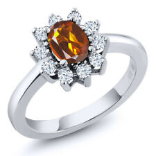 1.00 Ct Oval Orange Red Madeira Citrine 925 Sterling Silver Ring