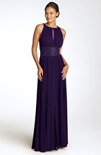JS BOUTIQUE 'Cutaway Shoulder' Beaded Waist Gown (Sizes 4 and 10) Plum