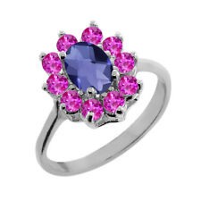 1.15 Ct Oval Checkerboard Blue Iolite Pink Sapphire 18K White Gold Ring
