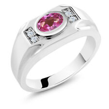 1.66 Ct Pink Mystic Topaz White Created Sapphire 925 Sterling Silver Men's Ring