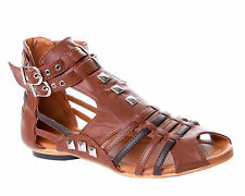 WOMENS TAN STUDDED FLAT SUMMER GLADIATOR SANDALS LADIES UK SIZE 3 - 8