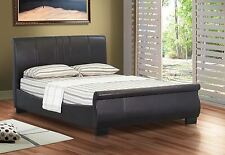 Chelsea Stylist Sleigh Design Leather Double / Kingsize Bed Frame & Memory Foam