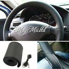 Brand New DIY Leather Car Auto Steering Wheel Cover With Needles And Thread J