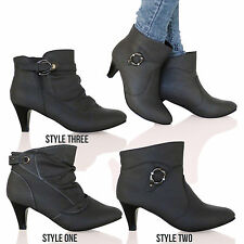 D6X New Womens Low Mid Heel Ankle Boots Casual Smart Fashion Ladies Shoes Size