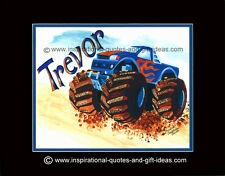 PERSONALIZED MONSTER TRUCK PICTURES POSTERS PRINT BOY ROOM WALL ART DECOR GIFTS
