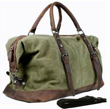 Vintage Leather Military Canvas Men travel Bag Tote luggage bag Duffle gym bag 1