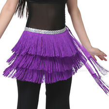 Women's Belly Dance Hip Scarf Belt Skirt Costume 3 Layers Fringe 12 Colours NEW