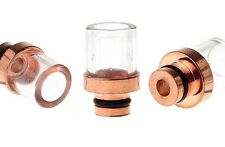 COPPER PLATED STAINLESS STEEL + GLASS SHORT DRIP TIP - SINGLE, 3-PACK, OR 5-PACK