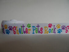 """Grosgrain Ribbon, Shelter Pets Rock Dog Paw Prints Puppy Rescue Adopt, 7/8"""" Wide"""