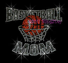 Basketball Mom - GREY Rhinestone Iron on Transfer Hot Fix Bling Sports School