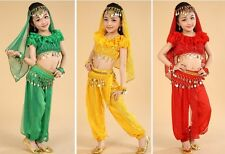 Kids Girls Belly Dance Costume Outfit Top Pants Bollywood Indian Dance Halloween
