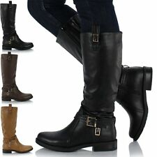 Ladies Womens Leather Style Knee High Heel Flat Grip Sole Biker Zip Boots Shoes