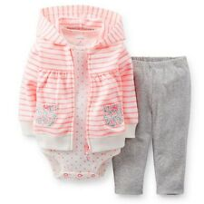 New Carter's 3 Piece Pink Stripe Cardigan Bodysuit & Pant Set NWT 3 6 9 12 18