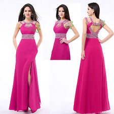 Fuchsia Long Formal Ball Cocktail Prom Wedding Bridesmaid Dresses Evening Gowns
