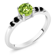 0.78 Ct Round Green Peridot Black Diamond 925 Sterling Silver Ring