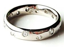 Scatter Diamond Sterling Silver Wedding/Engagement/Eternity Ring/band UK