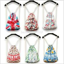 Floral Animal Women Girl Canvas Backpack Rucksack Chic Drawstring Shoulders Bags