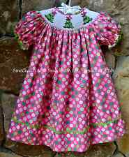 Smocked A Lot Girls Bishop Dress Christmas Tree Pink Candy Polka Dot Green Santa