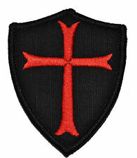 Knights Templar Cross 3x2.5 Shield Police Military Morale Velcro Patch - Options