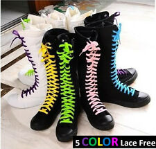 Girl Punk Gothic EMO Canvas High-top Knee Boots Women Lace Up Sneaker Shoes