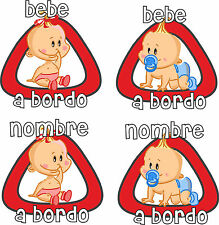 STICKER ADHESIVO PEGATINA BABY ON BOARD BEBE A BORDO NIÑO/NIÑA - PERSONALIZABLE