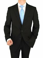 Presidential 2 Button Mens Suit Italian Modern Classic Fit Tone On Tone Black
