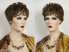 Short, Chick Pixie Style Human Hair Wavy Wigs gelled look Tapers at the Nape
