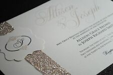 Golden Champagne Wedding Invitations with Beautiful Glitter Band and Monogram