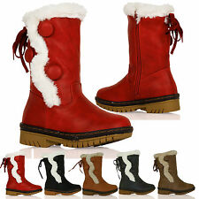 D3X Girls Fur Lined Thick Sole Mid Calf Boots 3 Button Warm Childrens Shoes Size