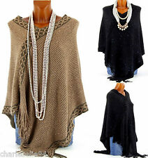 CharlesElie94 BENJAMINE Women's Winter Sequins Knitted Poncho Cape US 6-18