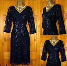 NEW M&S PER UNA LADIES BLACK NAVY SEQUIN FLORAL VINTAGE STYLE TEA PARTY DRESS