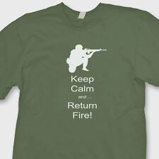 Keep Calm And Return Fire T-shirt Political Bear Arms Gun Rights Tee Shirt