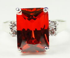 SR201, 7 cts Padparadsha CZ, Sterling Silver Ring - Handcrafted in the USA
