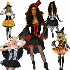 Ladies Fancy Dress Halloween Costume Womens Outfit Size 6-16 Witch Angel Vampire