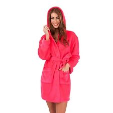 Ladies Luxury Soft Fleece Hooded Bath Robe Dressing Gown With Belt Size S/M/L/XL