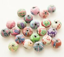 30PCS Mixed Polymer Clay Fimo Crystal Flower Loose Charm Beads Findings 12mm NEW