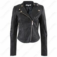 NEW WOMEN PU BIKER JACKET CROP FAUX LEATHER LOOK LADIES ZIP CROPPED BLACK COAT